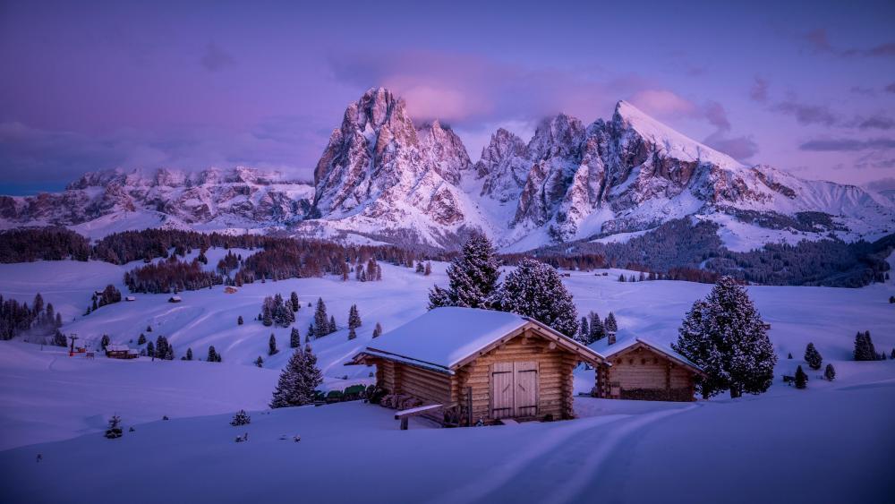 Log cabin in Seiser Alm (Alpe di Siusi) wallpaper