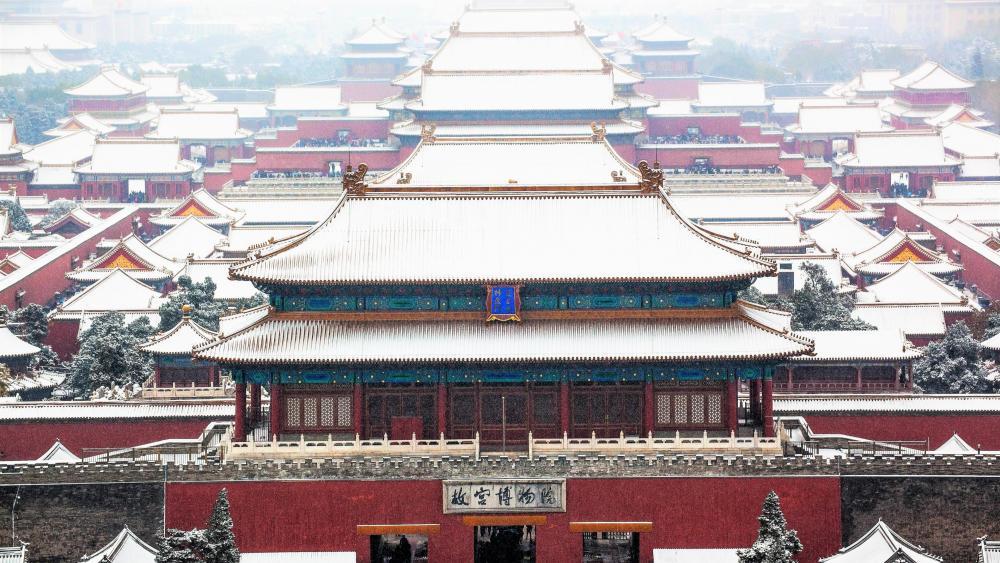 Forbidden City under snow wallpaper