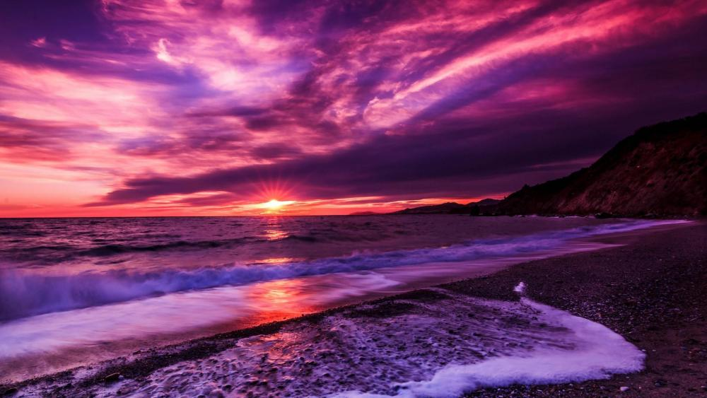 Purple clouds at sunset wallpaper