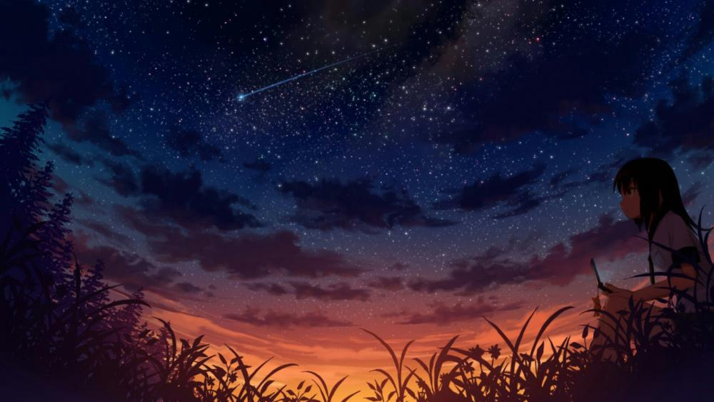 Anime girl watching starfall wallpaper