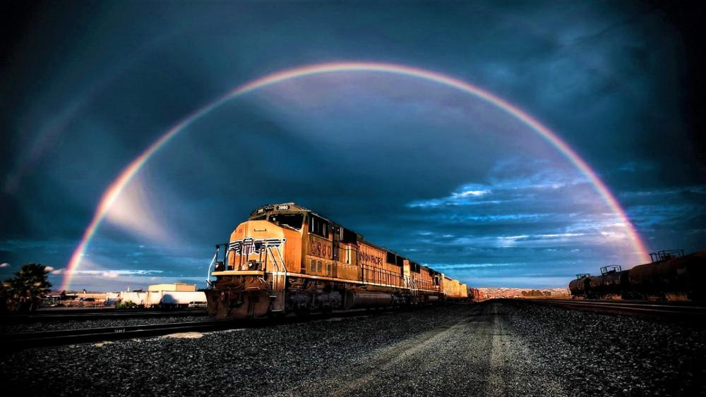 Train under the rainbow wallpaper