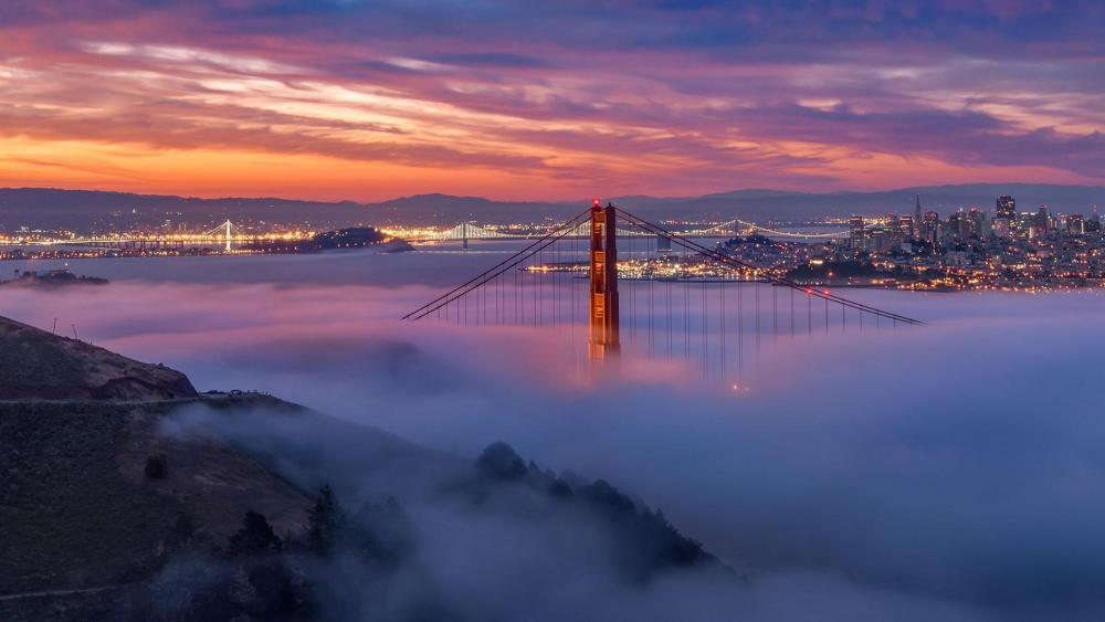 San Francisco and Golden Gate Bridge wallpaper