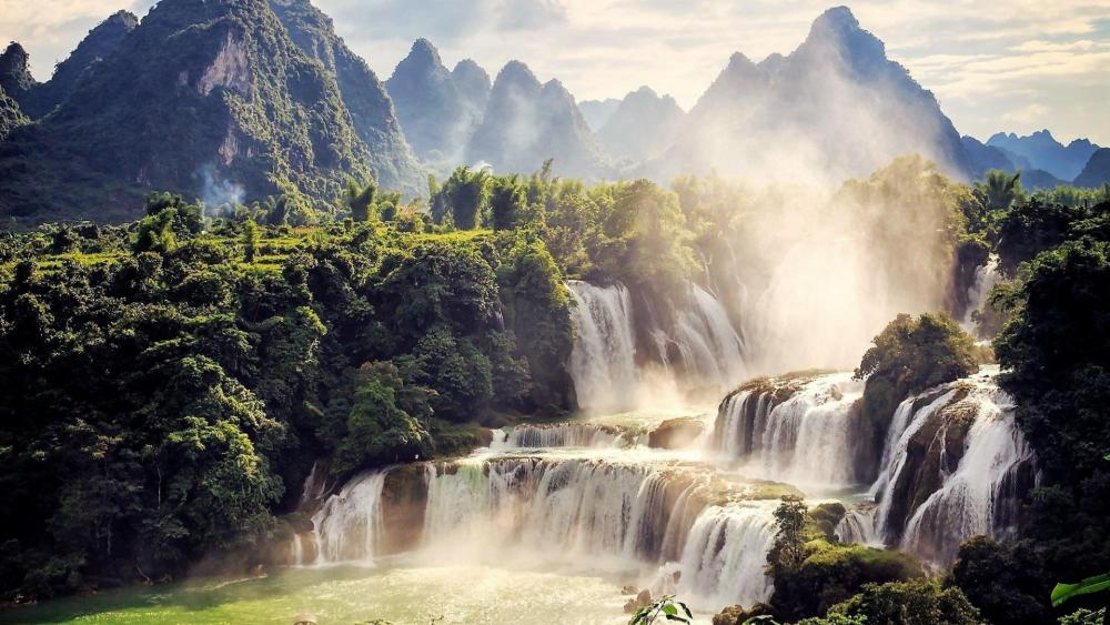 Detian waterfall wallpaper
