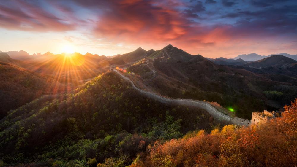 Jiankou Great Wall sunrise wallpaper