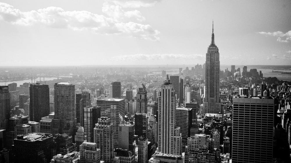 New York City black and white photo wallpaper