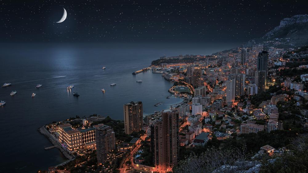 Monte-Carlo under the moonlight (Monaco) wallpaper