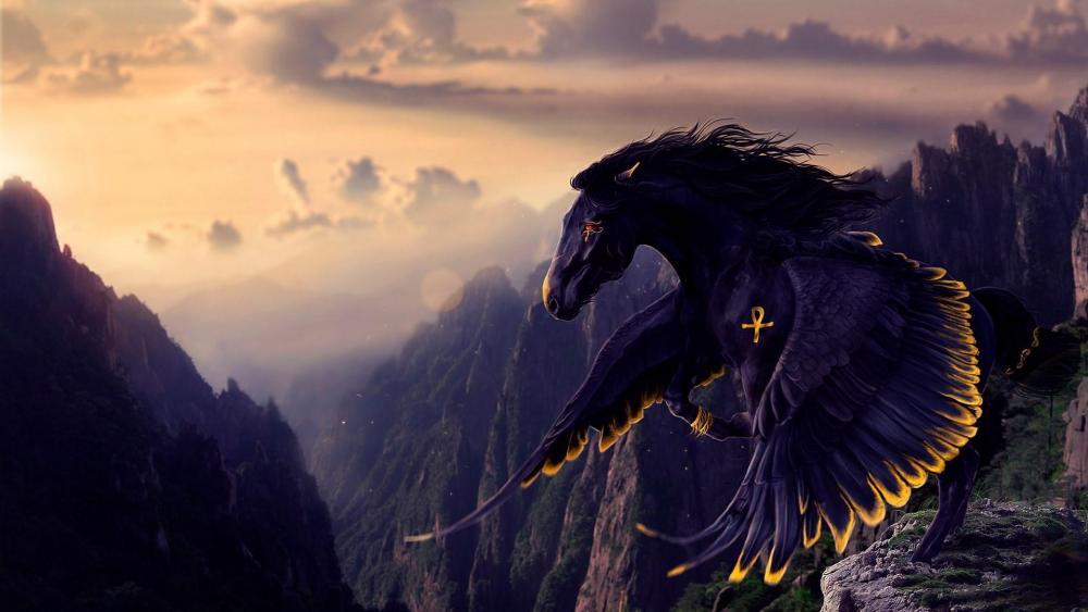 Black Pegasus - Fantasy art wallpaper