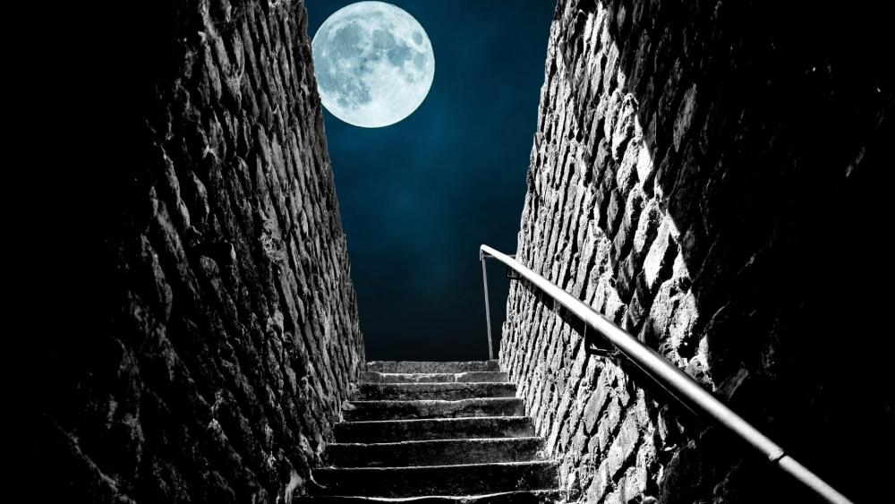 Full moon from the stairs wallpaper