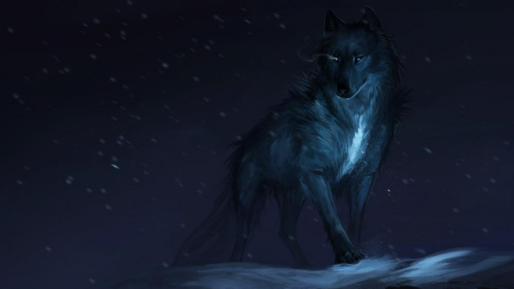 Werewolf in the night snowfall wallpaper