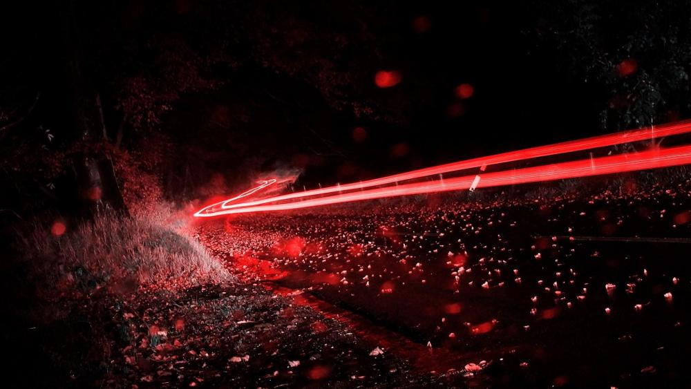 Red light trails - Long Exposure photography wallpaper