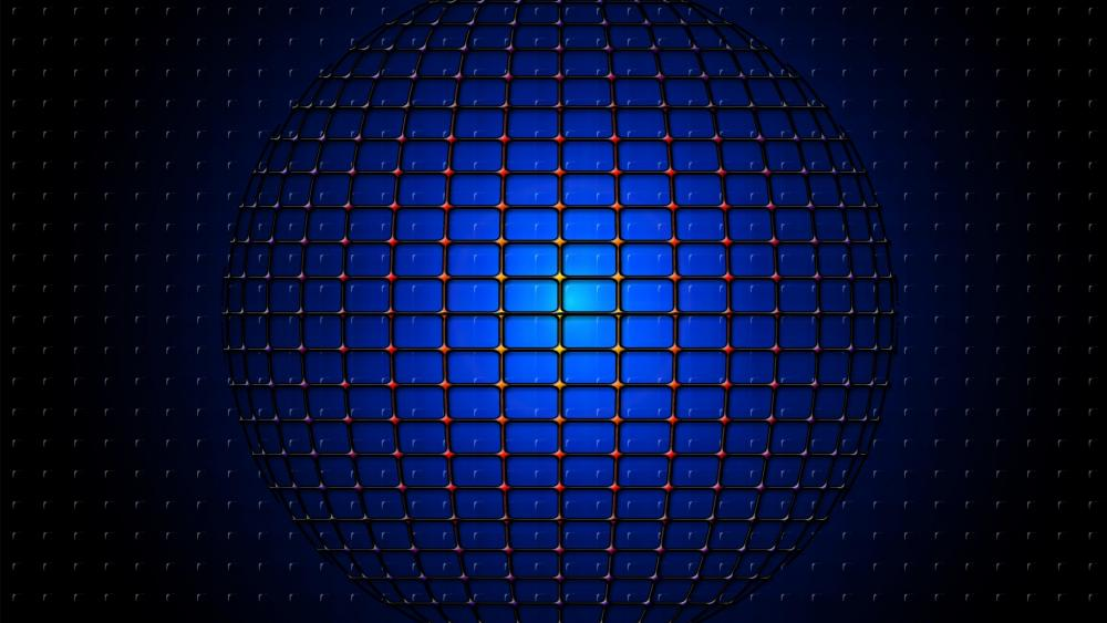 Blue sphere network - 3D Abstract Art wallpaper