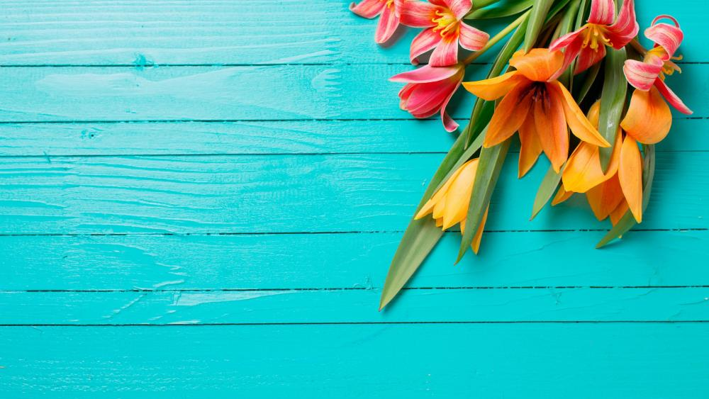 Flowers on blue wood planks wallpaper