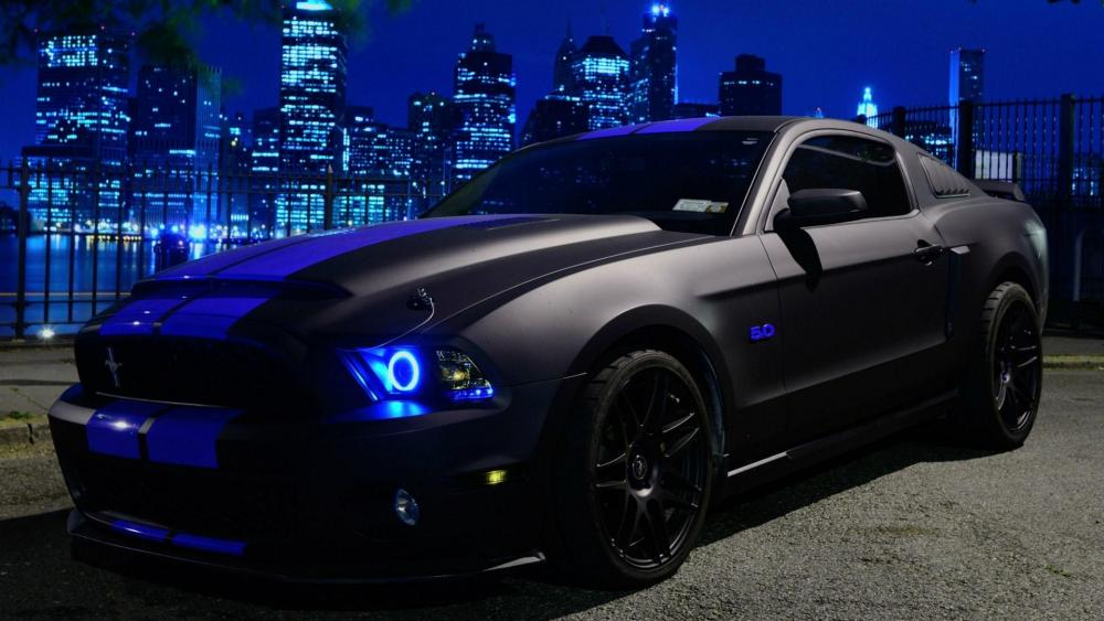 Matte black Ford Mustang wallpaper