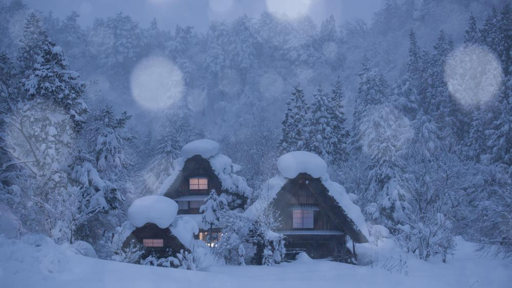 Snowy log cabin in the snowfall wallpaper