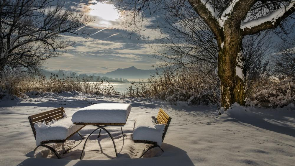 Snow-covered benches wallpaper