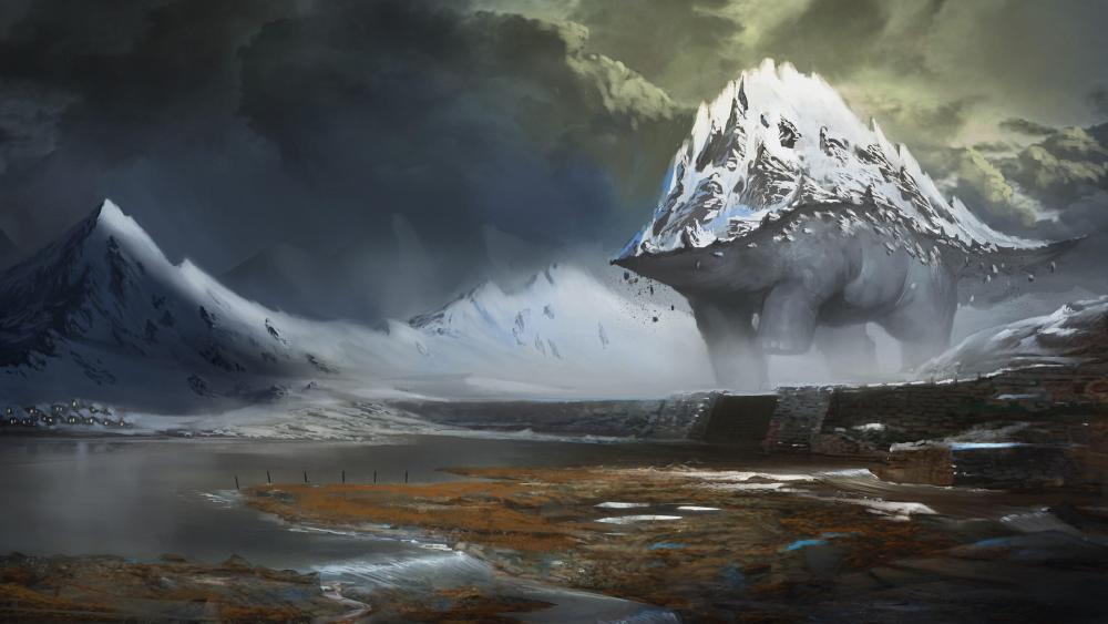 Giant mountain beast wallpaper
