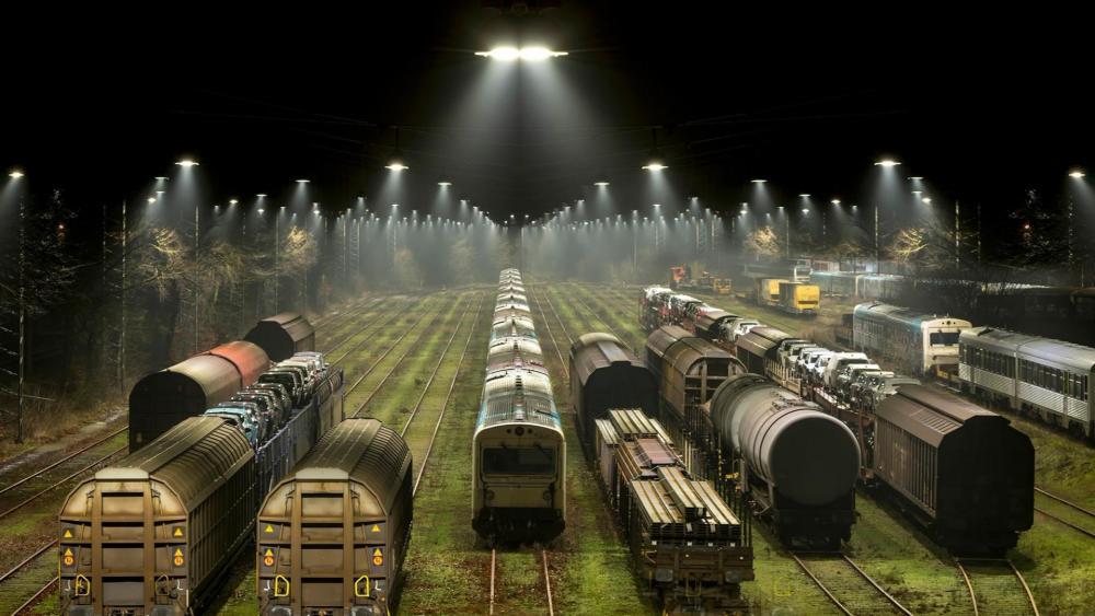 Railway station at night wallpaper