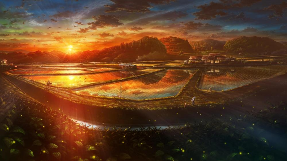 Pastoral sunset wallpaper