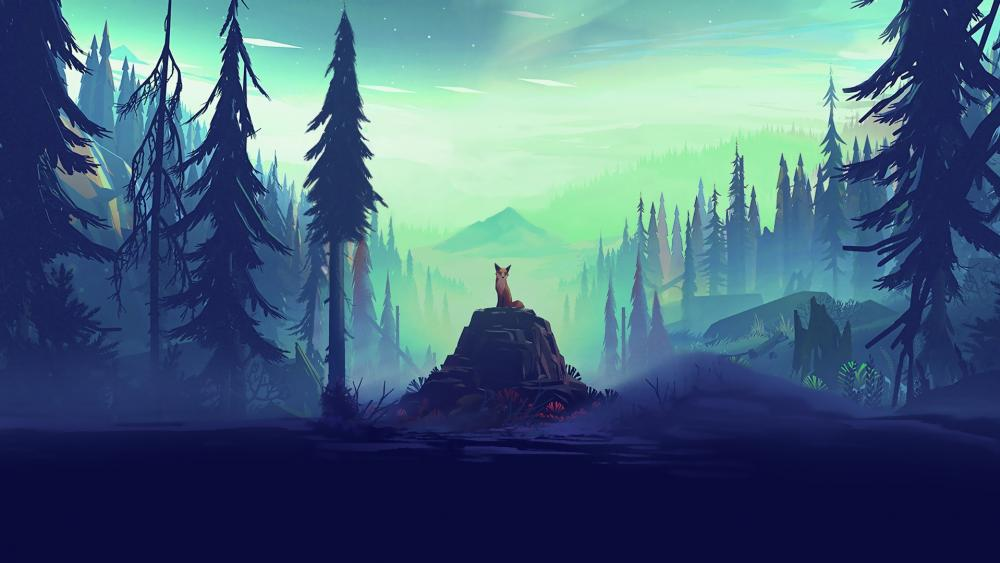 Fox in the dark forest - Fantasy art wallpaper