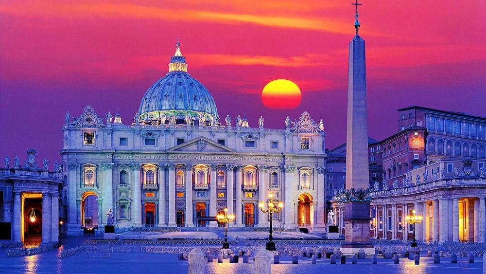 St. Peter's Basilica and Saint Peter's Square at sunset wallpaper
