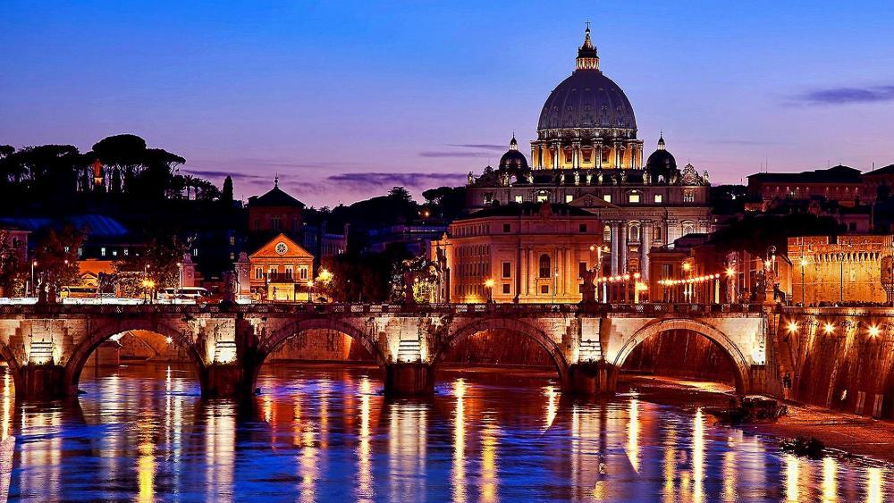 Rome Along Tiber With St. Peter Basilica wallpaper