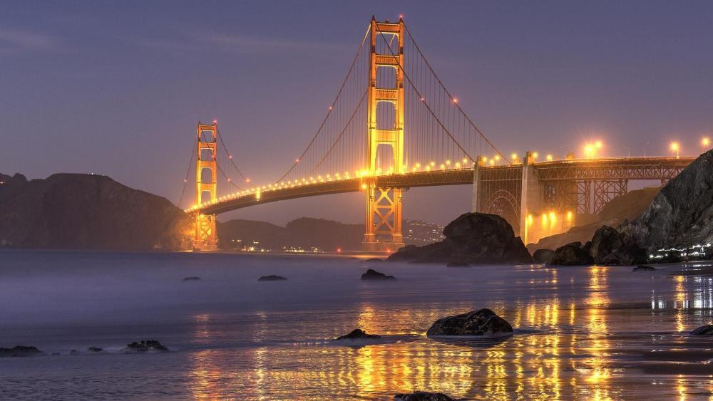 Golden Gate Bridge & Marshall's Beach at dusk wallpaper