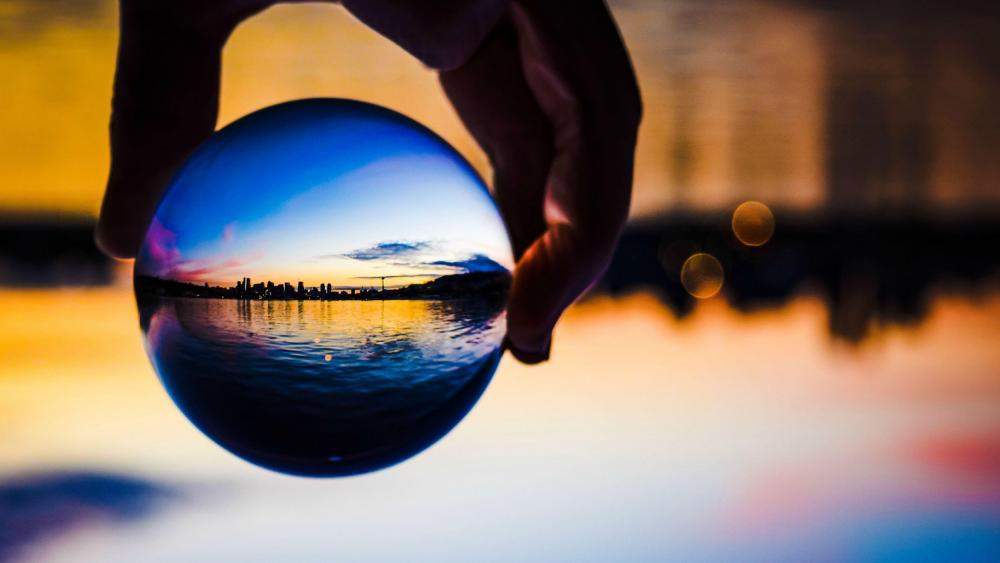 Sunset in Seattle  - Glass ball reflection wallpaper