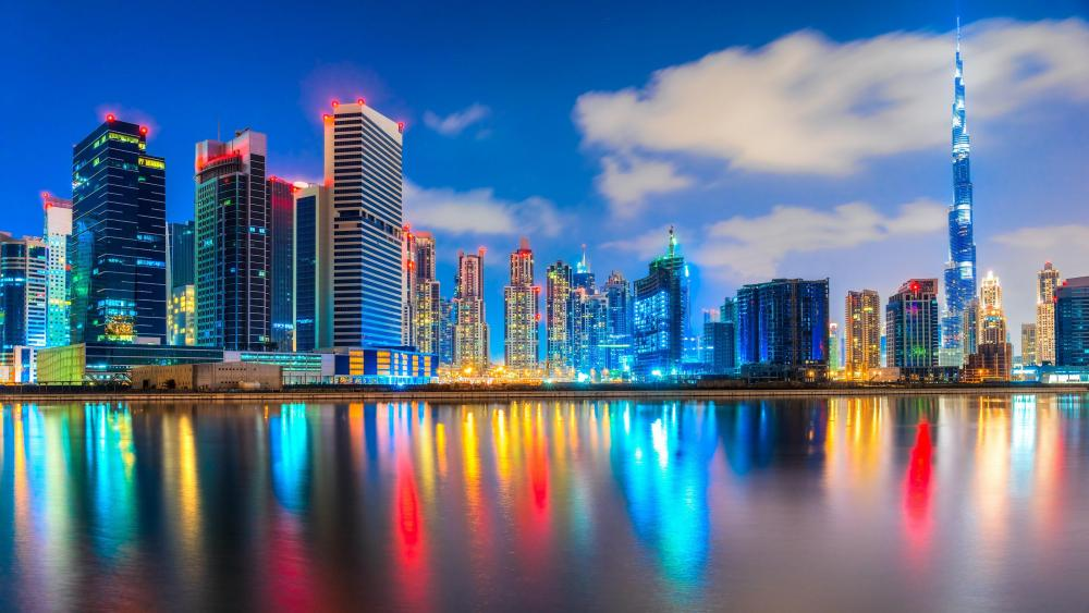 Dubai city lights wallpaper