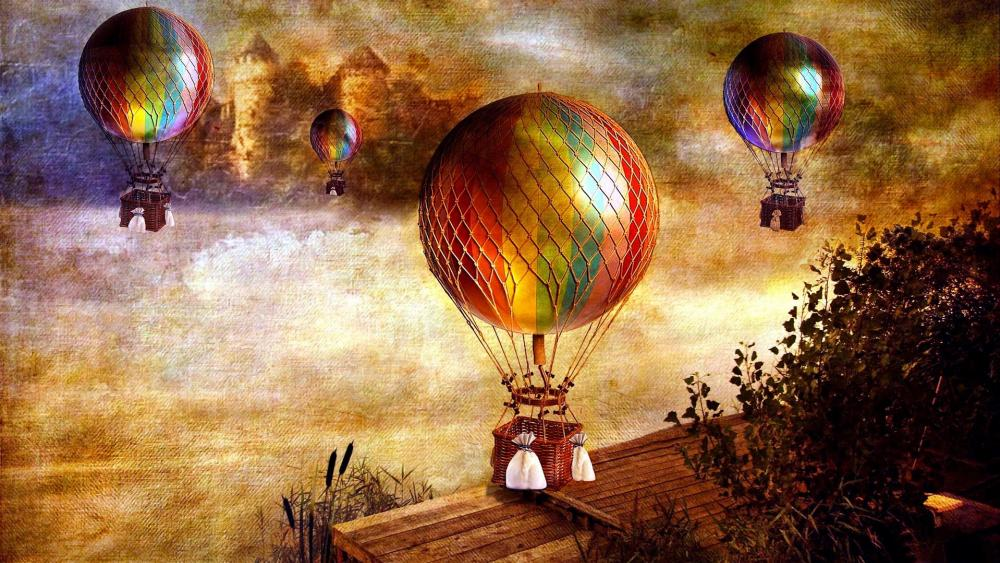 Vintage colorful hot air ballons - Fantasy art wallpaper