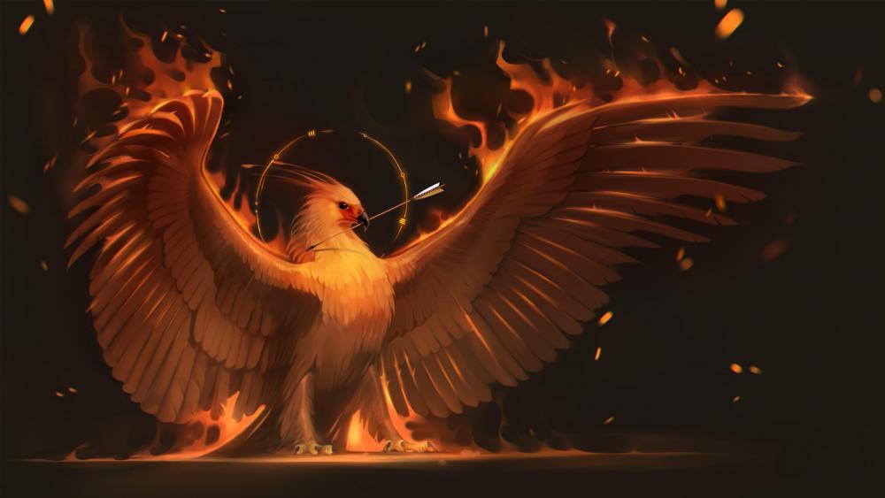 Flaming Phoenix bird wallpaper