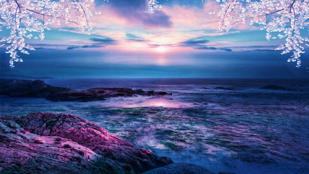 Beautiful ocean dawn wallpaper