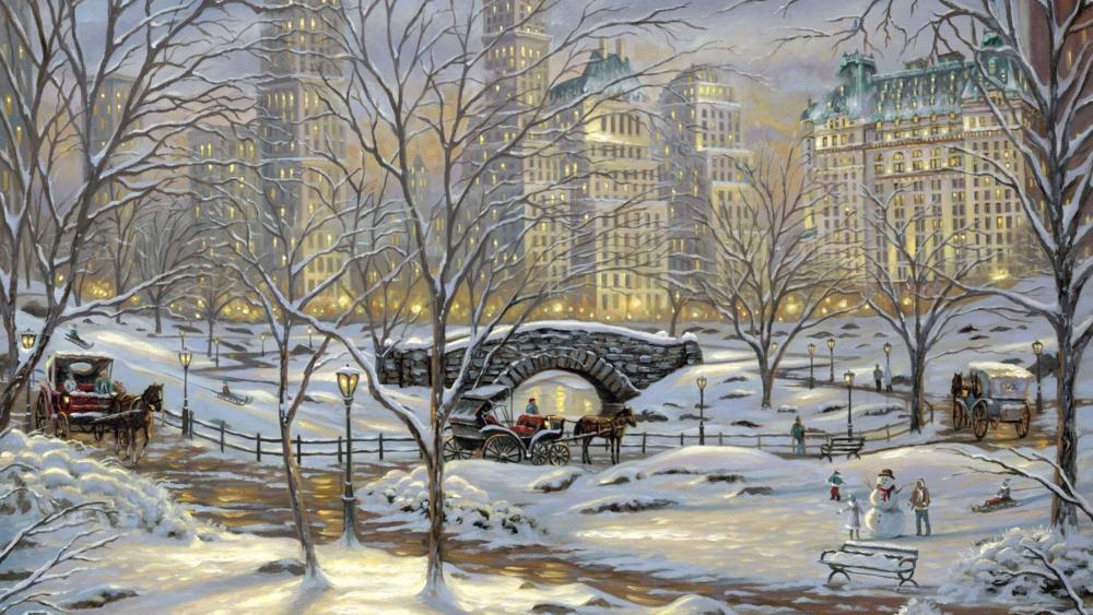Romantic winter cityscape - Painting art wallpaper