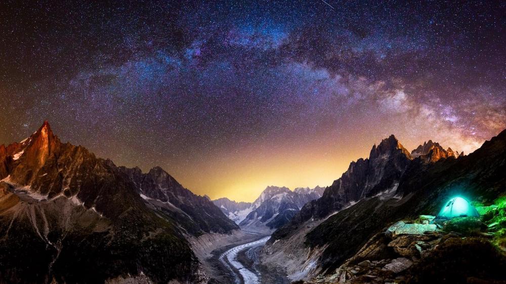 Aiguille du Dru under Milky Way at night (Chamonix) wallpaper