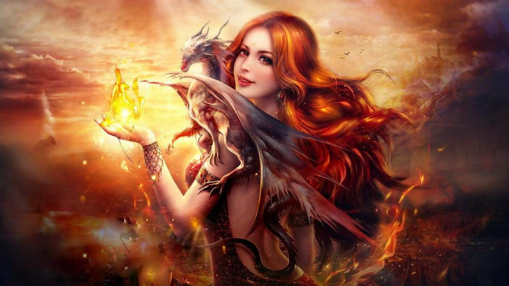 Fantasy girl with dragon and fire wallpaper