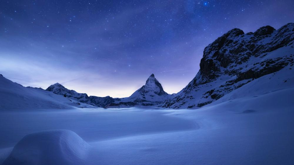 Matterhorn at night wallpaper