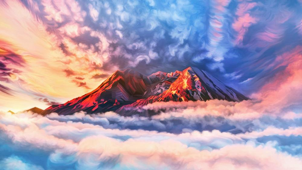Mountain peaks above the clouds - Digital Painting Art wallpaper