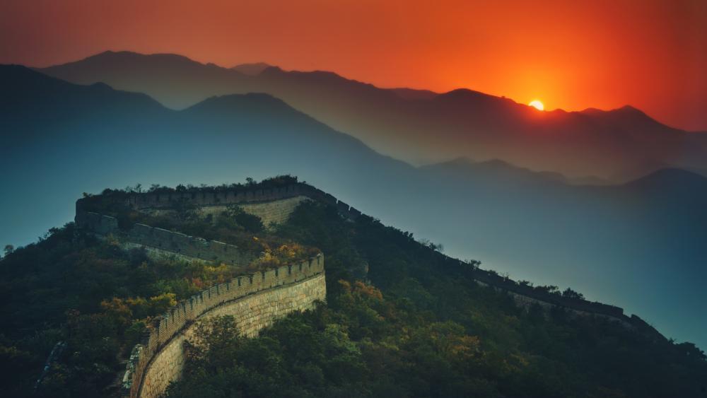 Great Wall of China at sunset wallpaper