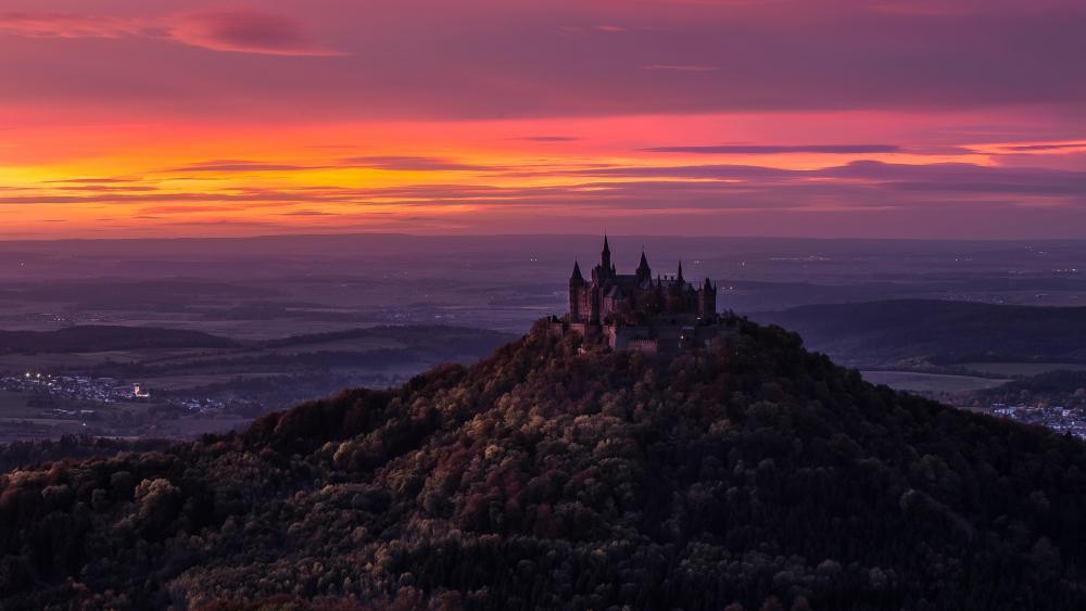 Hohenzollern Castle at sunset wallpaper
