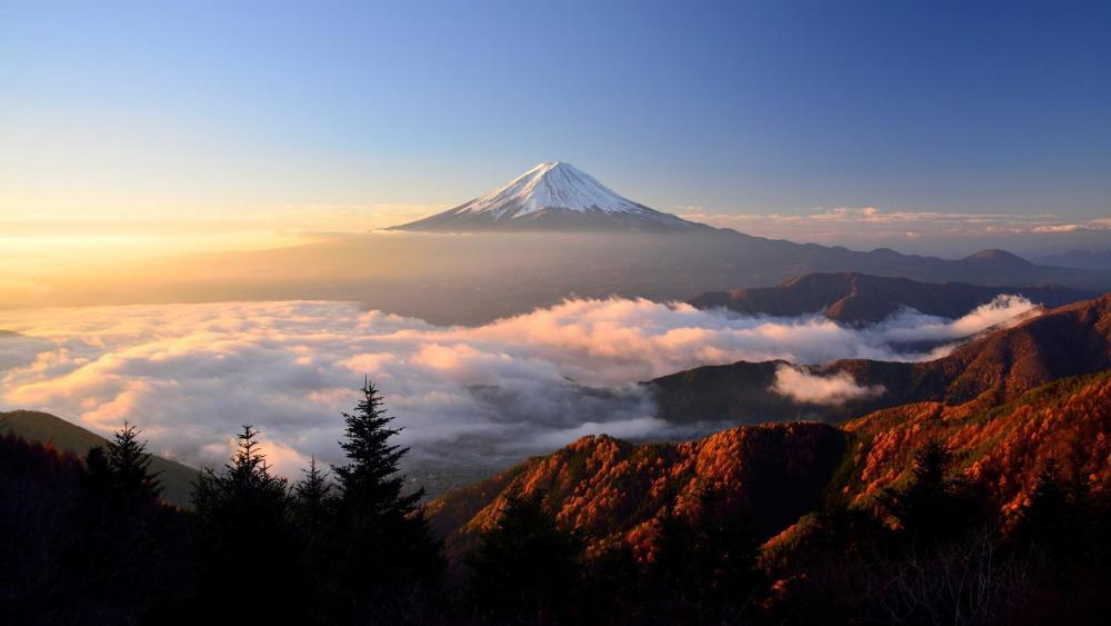 Mount Fuji volcano at sunrise wallpaper
