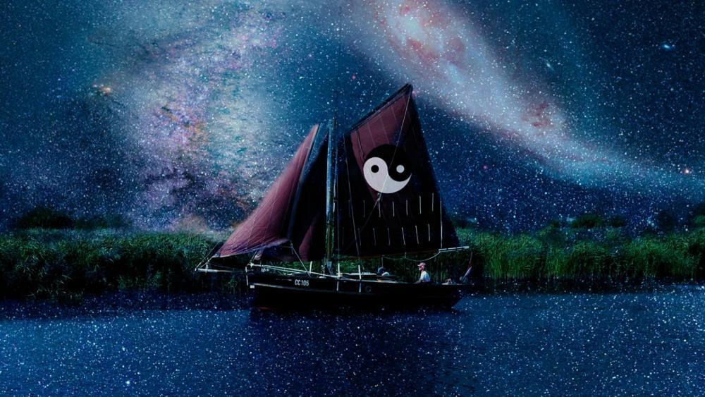 Yin yang boat under the Milky Way wallpaper