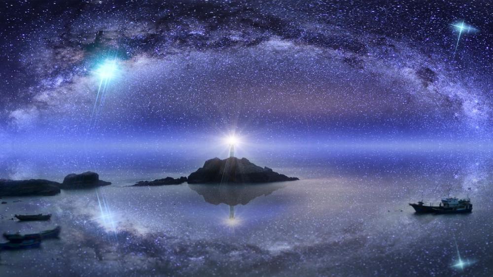 The starry sky of East Pole Island, Dongji, Taiwan wallpaper