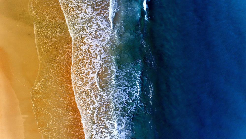Sea foam aerial view wallpaper