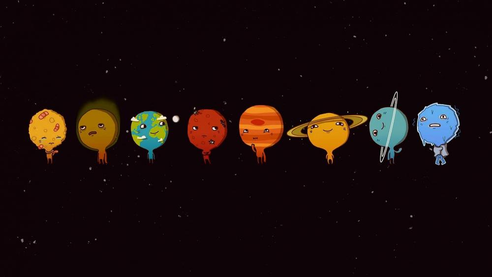 Funny planetary system wallpaper