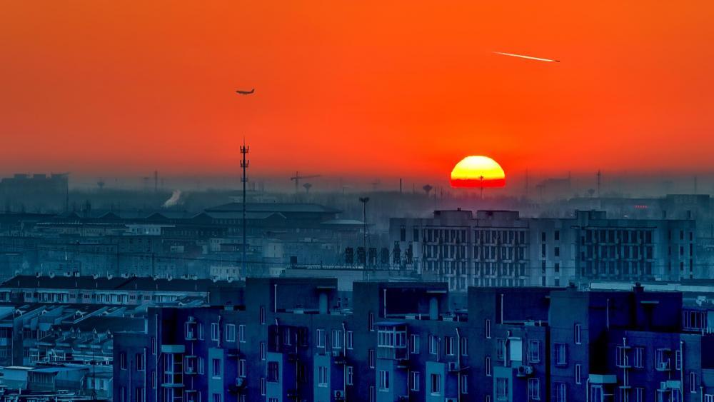 城市落日 (Sunset over the city) wallpaper