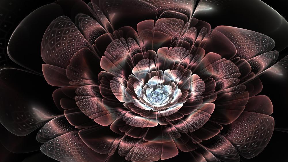 Glowing dark flower digital art wallpaper