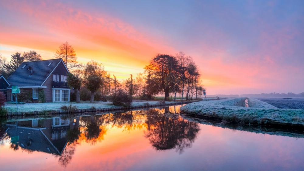 Frosty sunrise reflection wallpaper