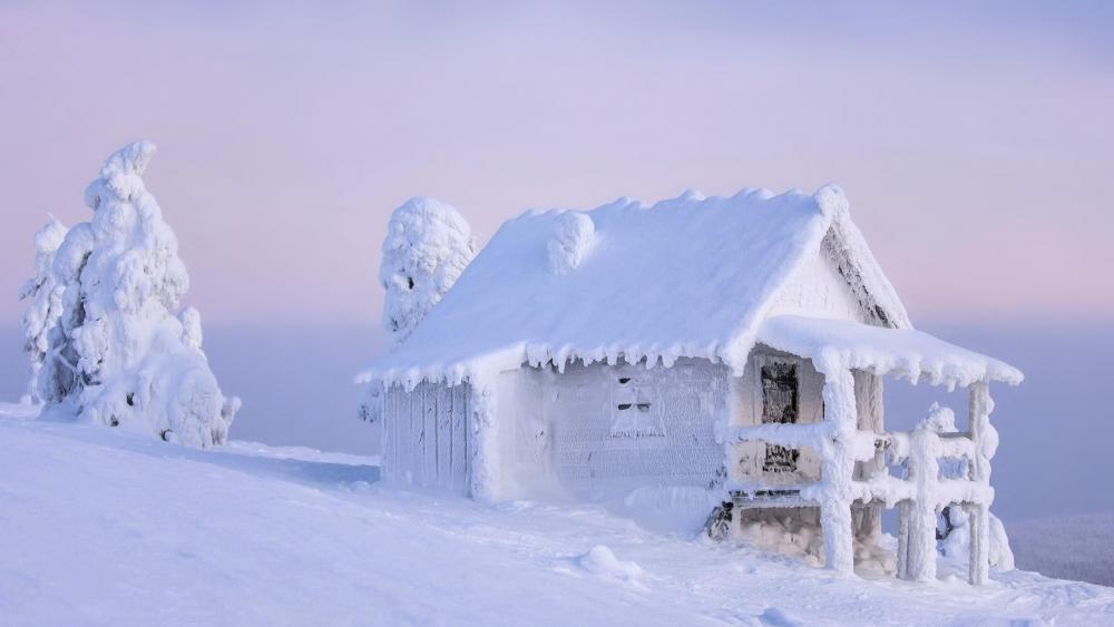 Frozen shanty in mountainside wallpaper