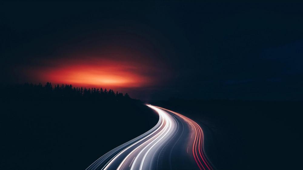 日出前的光轨 (Light trails before sunrise) wallpaper