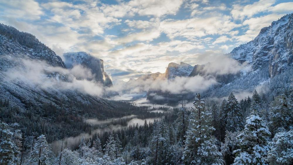 Yosemite Tunnel View at winter wallpaper