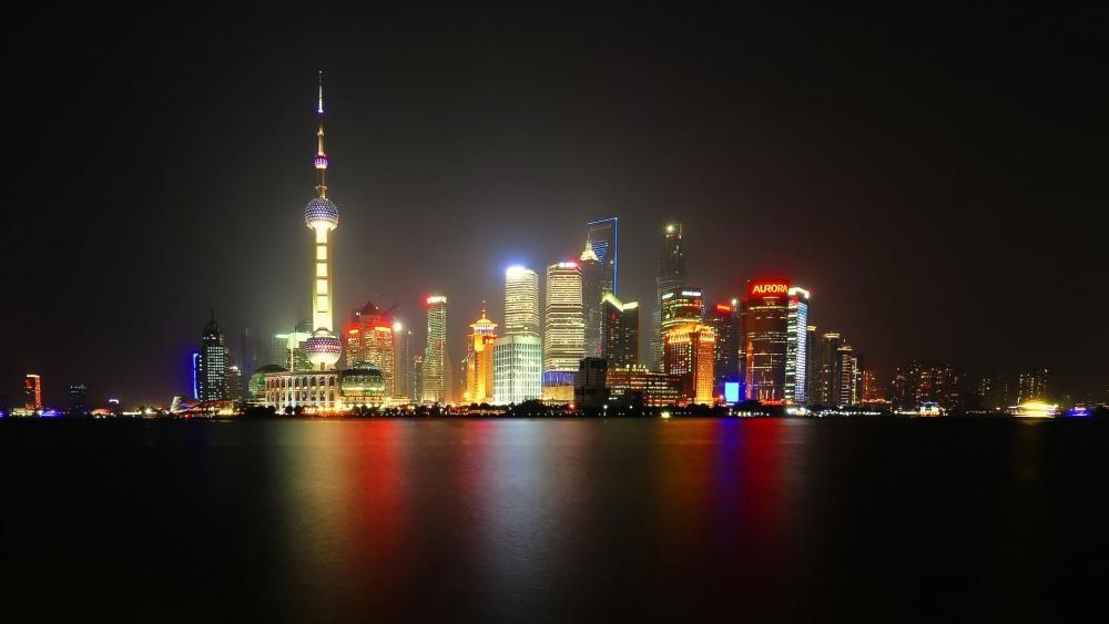 Pudong Skyline at night (Shanghai, China) wallpaper